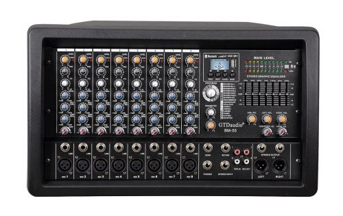 BM-55 Professional 4000 Watts 8 Channel Powered Mixer power mixing