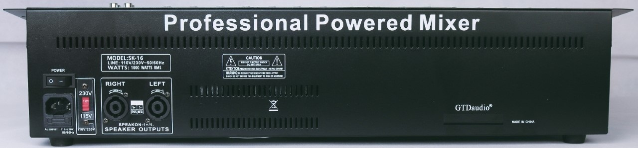 SK-16 Professional 4000 Watts 16 Channel Powered Mixer power